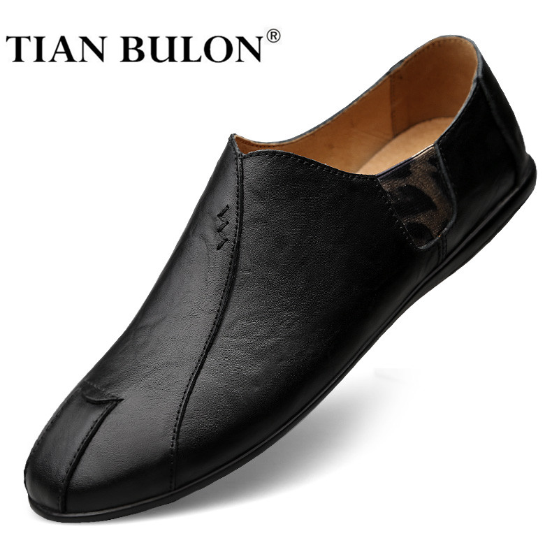 Genuine Leather Men Casual Shoes Luxury Brand 2020 Mens Loafers Moccasins Breathable Slip On Black Driving Shoes Plus Size 38-47