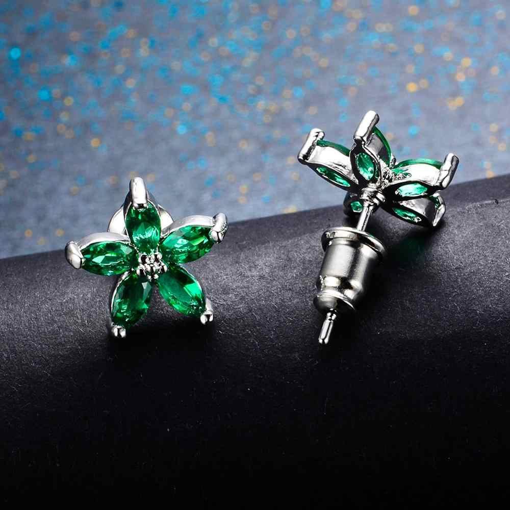 יוקרה נקבה קטן כוכב עגילי Boho קטן Oilve ירוק זירקון אבן עגילי 925 כסף כפול חתונה עגילים לנשים