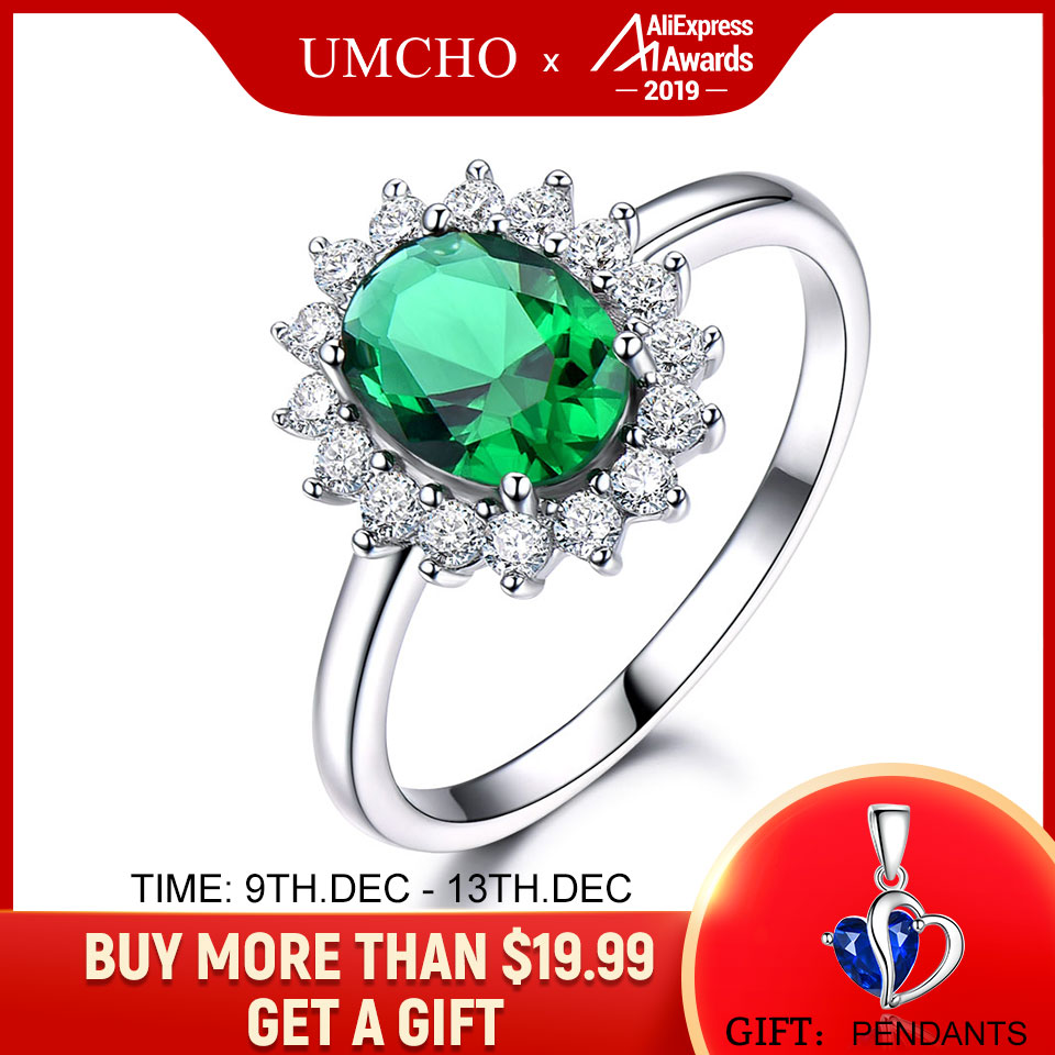 UMCHO Princess Diana Rings 925 Sterling Silver Jewelry Created Nano Emerald Rings Best Anniversary Gift For Women Fine Jewelry