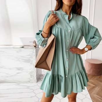 Women Vintage Ruffled Front Button A-line Dress Long Sleeve Stand Collar Solid Elegant Casual Mini Dress 2021 Spring New Dress 2