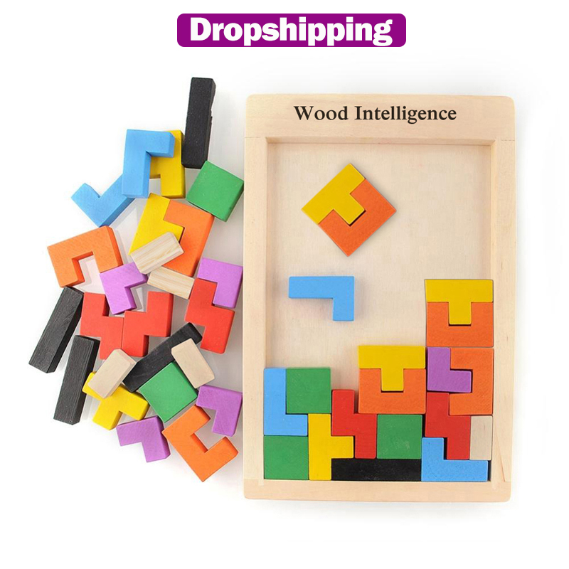 Colorful 3D Puzzle Wooden Tangram Math Toys for Tetris Game Children Pre-school Magination Intellectual Educational Toy for Kids