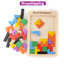 Colorful 3D Puzzle Wooden Tangram Math Toys for Tetris Game Children Pre school Magination Intellectual Educational