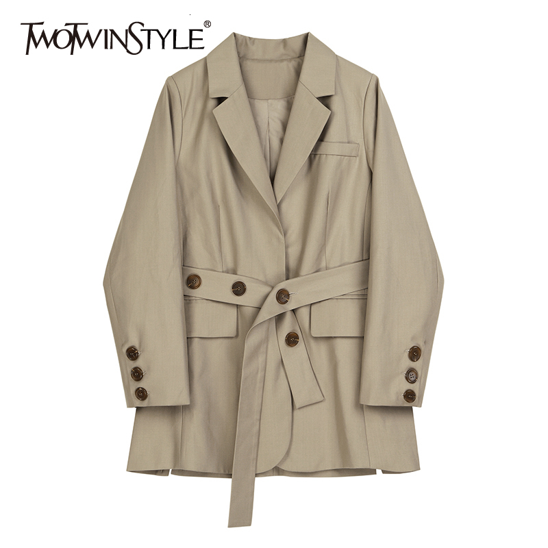 TWOTWINSTYLE Elegant Side Split Women's Blazer Notched Long Sleeve Pocket High Waist Lace Up Coats Female Autumn New 2020