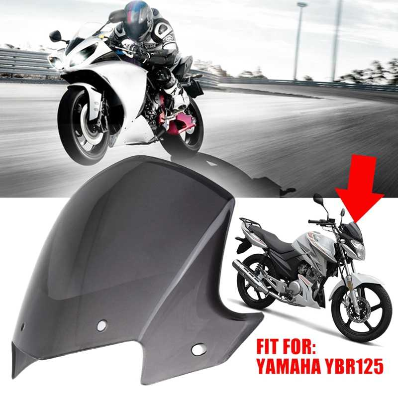 Monland Motorcycle Headlight Fairing Windshield Screen Transparent Brown Protector Frame for YBR 125 2014-2017
