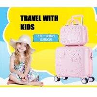 16 zoll PC Kinder Roller Trolley Gepäck Set Mit 14 Zoll Kosmetische Handtasche Casual Nette Reise Koffer Tragen Auf Schule gepäck