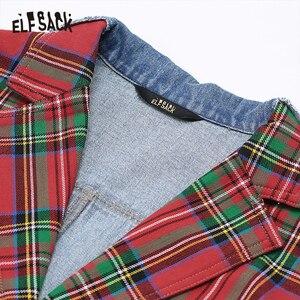 Image 4 - ELFSACK Plaid Patchwork Denim Blazer Women 2019 Autumn Korean Style Female Blazers And Jackets Streetwear Office Ladies Outwear
