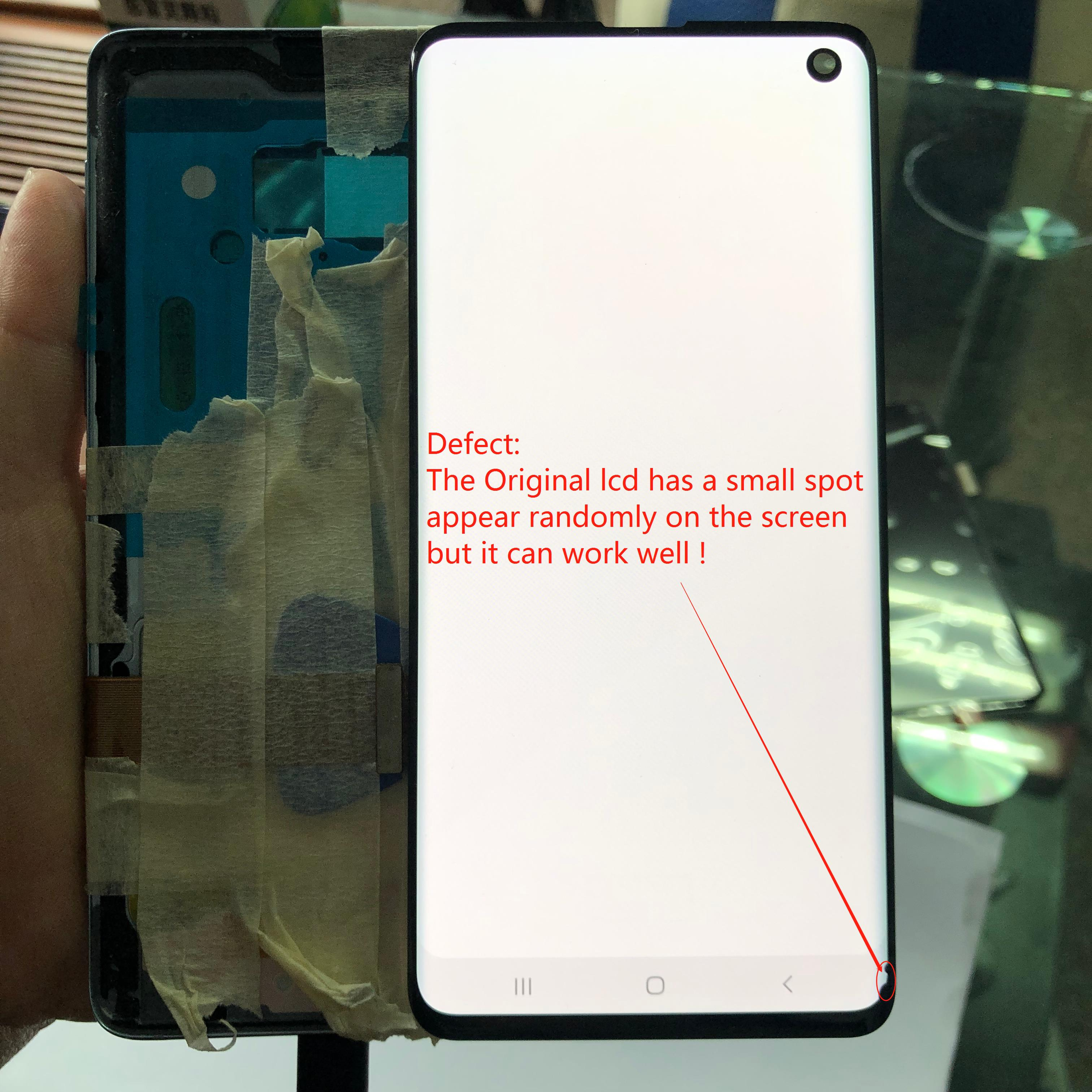 For Samsung Galaxy S10 G973F G973FD LCD Display + Touch Screen Digitizer Assembly With Small Spot + Frame Original Amoled LCD