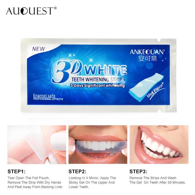 3D Gel Teeth Whitening Strips Teeth Veneers Dentist Removal For Oral Hygiene Clean Double Elastic Dental Bleaching Strip AUQUEST