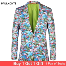 PAULKONTE 2019 Fashion Flamingo Print Mostly Male Blazer Jacket For Men Suit Top High Quality Party Wedding Mans