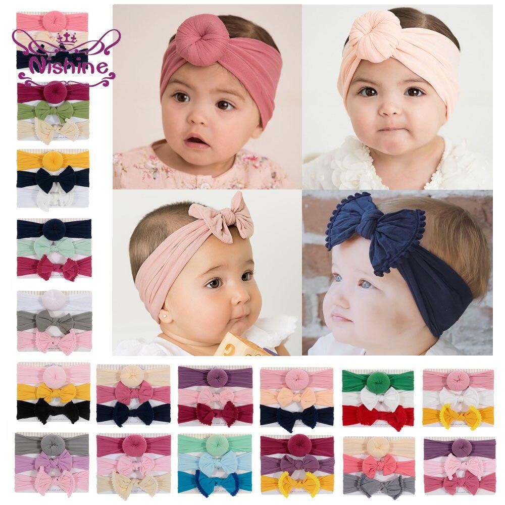 Nishine-bandes de cheveux avec nœud en Nylon pour bébé, lot de 3 pièces, bandeaux pour nouveau-né et boule ronde avec nœud papillon