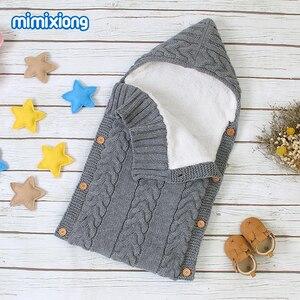 Image 4 - ベビー寝袋ベビーカー秋封筒新生児冬暖かい乳児の睡眠袋ケーブルニット幼児屋外おくるみラップ
