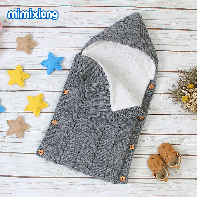 Autumn Envelope for Newborn Baby Sleeping Bags Winter Warm Infant Stroller Sleep Sack Cable Knitted Toddler Outdoor Swaddle Wrap