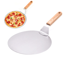 10inch Pizza Shovel Pizza Peel Round Stainless Steel Non-stick Pizza Paddle Spatula With Oak Wooden Handle Pastry Tool