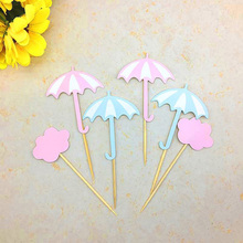AVEBIEN6pcs Umbrella Cake Insertion Topper Dessert Decoration for Wedding Birthday Party Cake Topper Pastry Cake Insertion Decor lovely sika deer cake topper cake decoration party wedding dessert decoration home decor miniature terrarium figurines ornaments