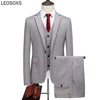 2020 Three Piece Mens Gray Plaid Suits Slim Fit Groom Wedding Suit Tuxedo High Quality Business Dress Suit Male