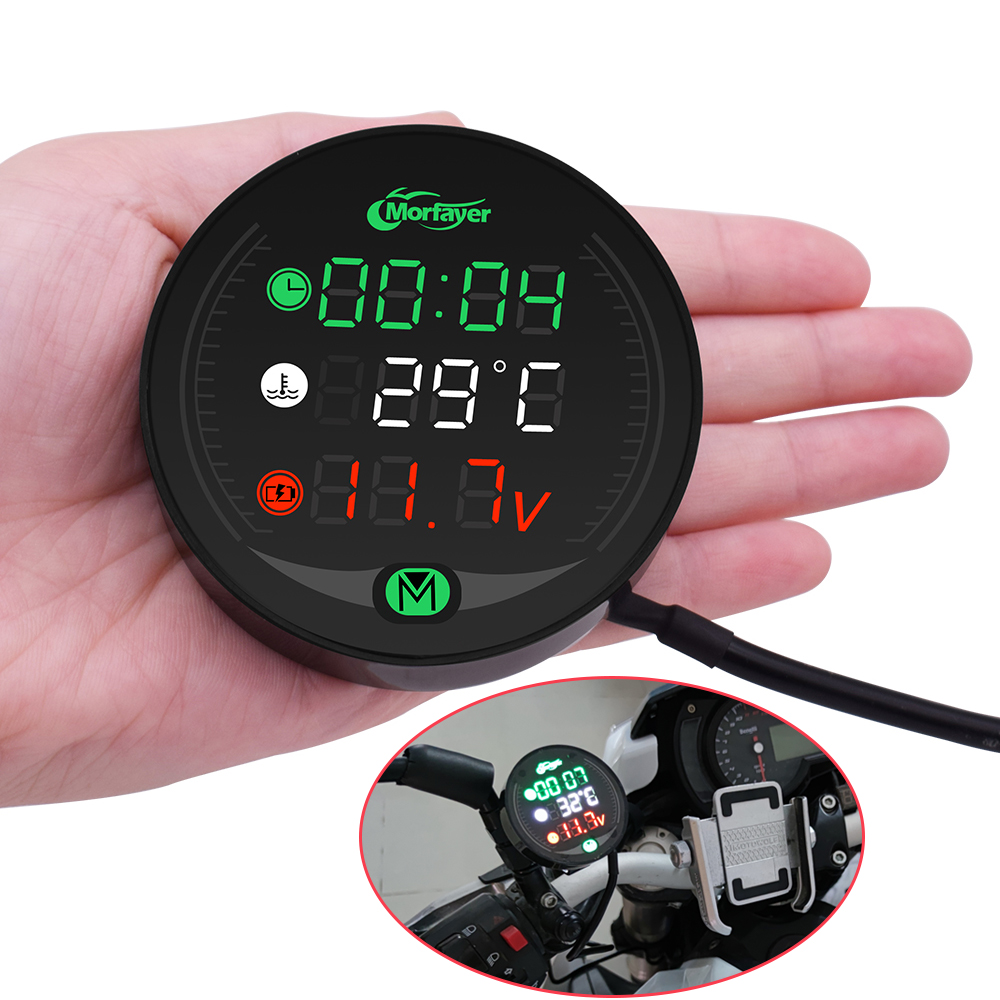 Motorcycle Gauge Display Table Voltmeter Water Temp Clock Time Charge USB For <font><b>Buell</b></font> <font><b>1125CR</b></font> 1125 M2 Cyclone Ulysses XB12X X1 XB12 image