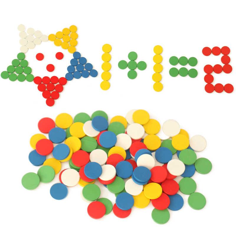 50 stücke Kinder Montessori Mathematik Bildung Block Spielzeug Bingo Chips Zählen Mathematik Holz Tangram Clevere Platte Montessori Geometrie Spielzeug