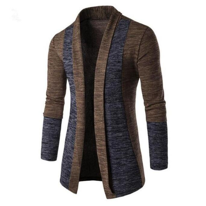 Hot 2020 Men's Sweater Jacket Fashion Mens Patchwork Color Trench Coat Jacket Cardigan Long Sleeve Outwear Jacket