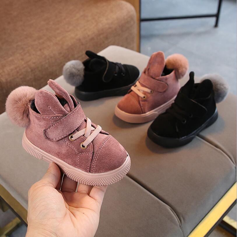 New Winter Girls Boots Plush Toddler Children Snow Boots Rabbit Soft Sole Warm Baby Kids Boots EU 21-30