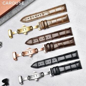 Correa de reloj Carouse, 16mm, 18mm, 19mm, 20mm, 21mm, 22mm, piel de becerro, correa de reloj de piel auténtica, correa de cocodrilo para Tissot Seiko