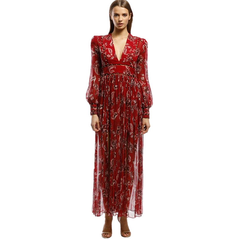 Boho Chic Vacation Maxi Dress Women Deep V neck Flower Print Pearl Beaded Long Sleeve CHiffon Long Dress High Split Beach Dress image