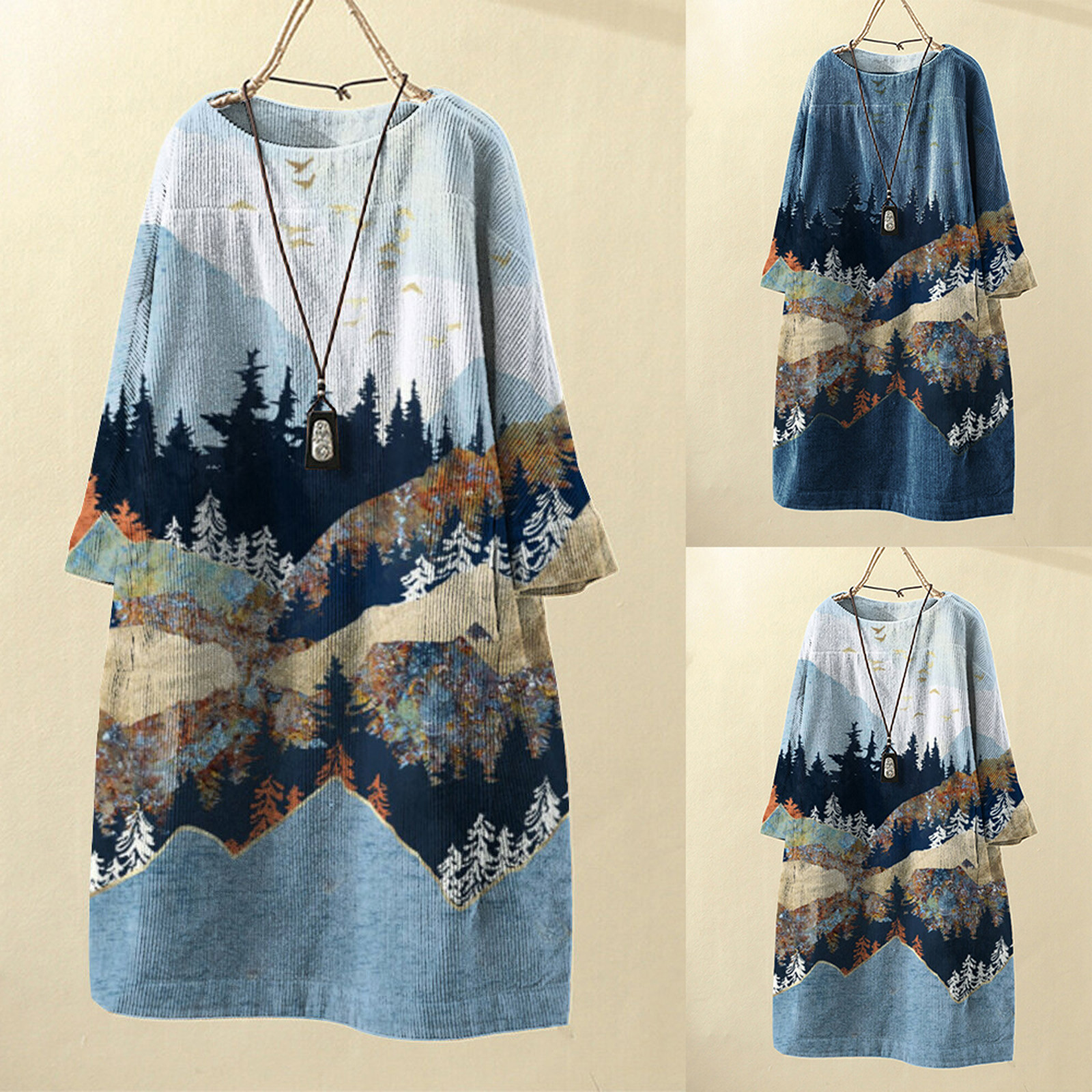 платье 2021 Women Vintage Pockets Dresses Corduroy Harajuku Clothes Landscape Print Long Sleeve Clothing Loose Dresses