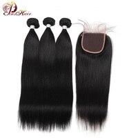 Pinshair Peruvian Straight Hair Bundles 100% Human Hair Extensions Nonremy Hair Weaving Natural Color Thick Bundles With Closure