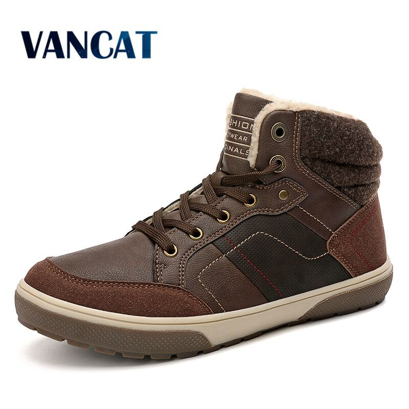 Vancat Brand Fashion Men Winter Snow Boots Super Warm Fur Male Ankle Boots Waterproof Non-slip  Men's Boots Casual Work Boots