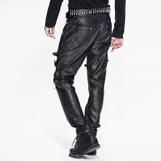 Devil Fashion Men Punk Rock Leather Pants Streetwear Casual Straight Trousers Male Fashion Hight Quality PU Casual Pants 26