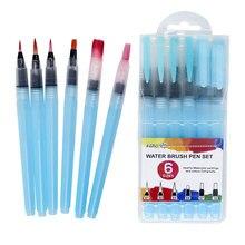Memória 6 pçs pincéis de pintura em aquarela caneta de água conjunto para desenho pintura caligrafia profissional suprimentos de arte