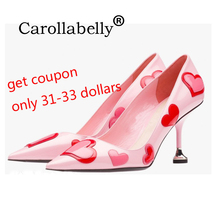 Carollabelly Heart Pink Shoes Women Colourful Pumps Pointed Toe Sweet High Heels Pull On Pretty Wedding Shoes