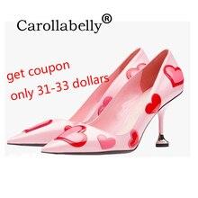 Carollabelly kalp pembe ayakkabı kadınlar renkli pompaları sivri burun tatlı yüksek topuklu çekin güzel düğün ayakkabı