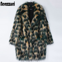 Nerazzurri Veelkleurige Faux Bontjas Vrouwen Drop Schouder Revers Winter Warm Harige Faux Fur Jas Plus Size Winter Kleding 5xl