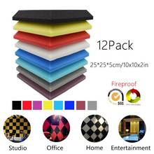 12/Pack Acoustic Foam Plate Soundproof Isolation-Treatment Square Sound-Absorption-Tiles