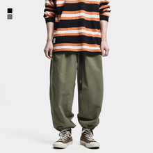 Jogger Pants with Belt Men's Streetwear Elastic Waist Solid Colour Baggy Wide-legged Pants Easy Chic Casual Trousers Men