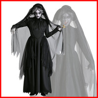 Halloween Costume for women Witch Vampire Devil Ghost Bride Dress Black Cosplay Costume Role Play Scary Female Adult Costume