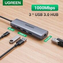 Ugreen USB Ethernet адаптер USB 3,0 к RJ45 3,0 концентратор для ноутбука Xiaomi Mi Box S/3 Ethernet адаптер Сетевая карта USB Lan