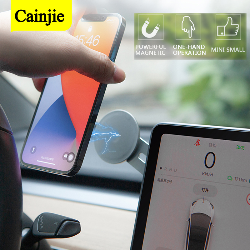 Soporte magnético de teléfono para coche, soporte de pegatina de navegación para iPhone 12, accesorio de Metal con imán GPS para coche Tesla modelo 3 Y