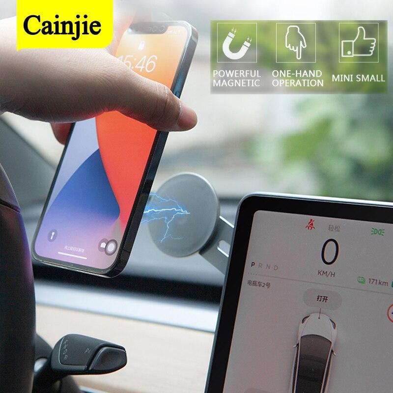 Suporte do telefone do carro magnético de navegação adesivo suporte para iphone 12 metal ímã gps carro accessoires para tesla modelo 3 y
