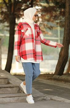 Minahill Claret Red Ecru koszula moda muzułmańska islamska odzież skromne topy arabska odzież długa tunika dla kobiet 5330-03 tanie i dobre opinie TR (pochodzenie) tops Aplikacje Bluzki i koszule Octan Dla dorosłych