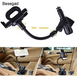 Image 1 - Besegad Flexible Cigarette Lighter Car Phone Charger Holder Cradle Mount w/Dual USB Charging Port for iPhone 7 6 Plus Tablet GPS