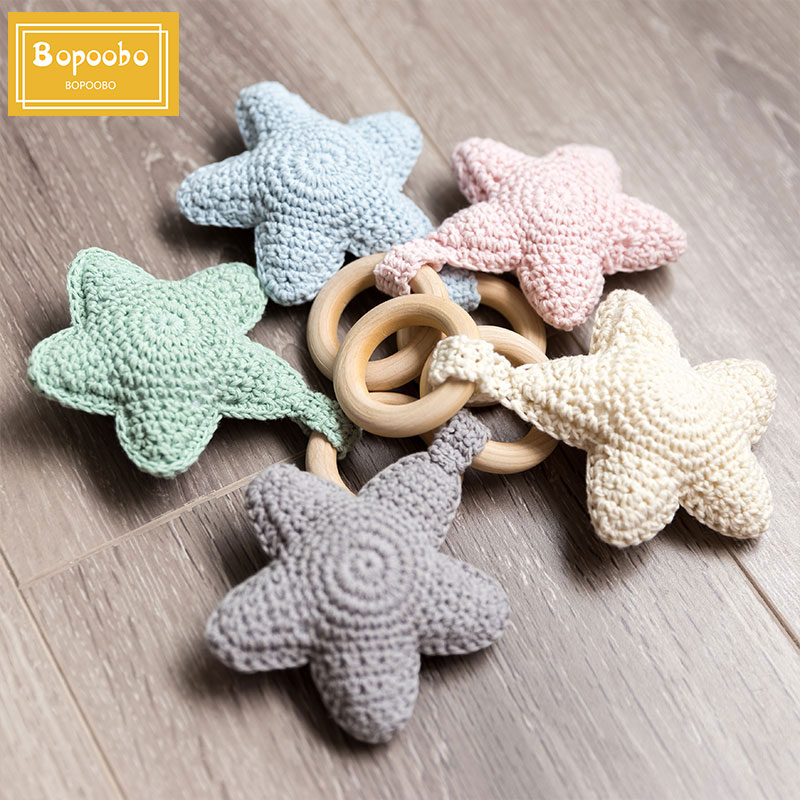 Baby Rattle Bells Crochet Knitted Star Mobile Toys Baby Play Gym 1pc Baby Amigurumi Storller For Kids Gift Montessori Toys