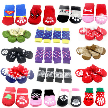 25X60 MM Lovely Pet Fashion Pets Dogs Socks 4Pcs/Set Cute Puppy Knits Anti Slip Skid Bottom
