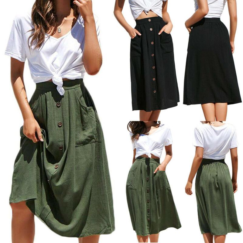2 Colors Women Casual Midi Skirt Elastic High Waist Front Button Pockets Ladies Autumn Skirts Fashion Loose Plus Size Skirt