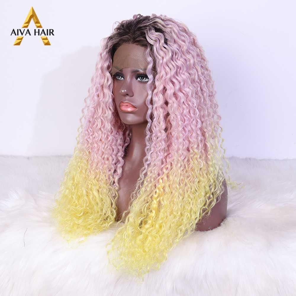 Новое поступление, желтый парик Aiva Hair, бесклейкий синтетический парик на сетке спереди, термостойкий, женский, черный