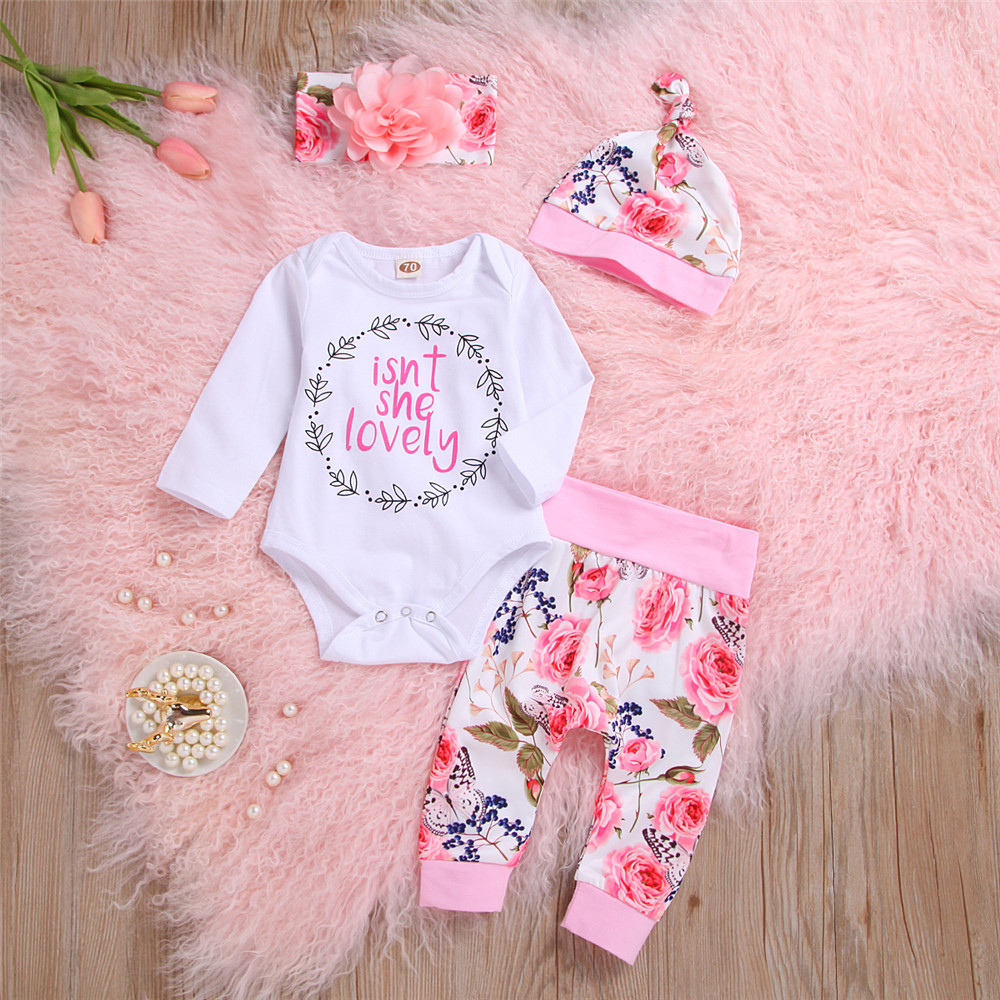 Pudcoco Newborn Baby Girl Clothes Letter Print Long Sleeve Romper Tops Flower Print Long Pants Headband Hat 4Pcs Outfits Set
