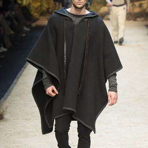 Coats Cape Cloak Poncho Hooded Streetwear Long-Trench Solid-Color Fashion Regular Men