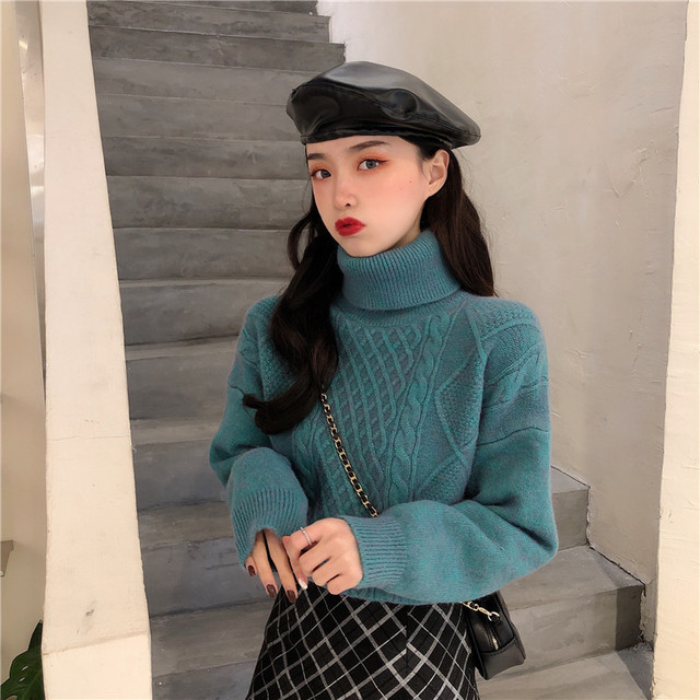 Ailegogo New Women Spring Turtleneck Pullovers Casual Female Knitted Loose Fit Sweater Retro Solid Color Ladies Knitwear Tops 5