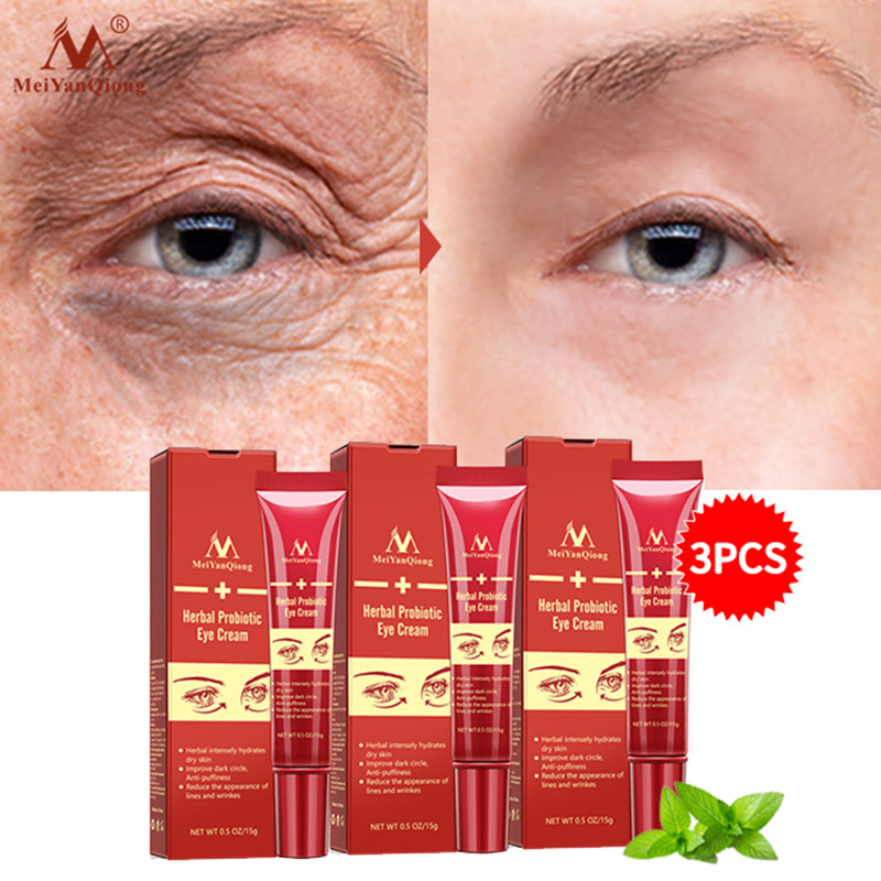 MeiYanQiong 3Pcs Herbal Probiotic Hyaluronic Acid Eye Cream Anti-Wrinkle Remove Dark Circle  Essence Anti-Puffiness Anti Aging