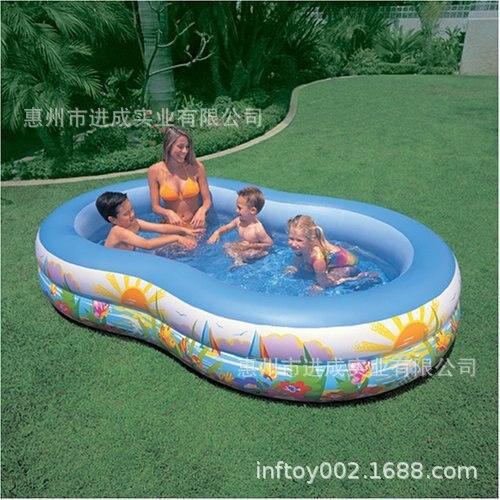 Fabricants vente directe bleu deuxième anneau infantile piscine gonflable carré enfants piscine sha tan chi océans piscine à balles